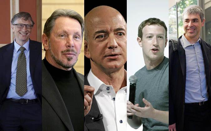 De izquierda a derecha: Bill Gates (Microsoft, Patrimonio: 79.200...