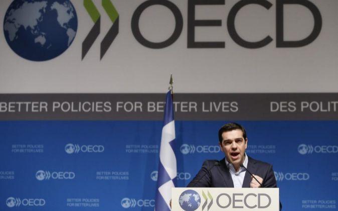 El primer ministro griego, Alexis Tsipras, en la sede de la OCDE.