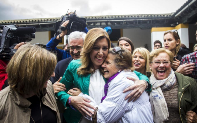La candidata a la Junta de Andalucía Susana Díaz, anteayer en Cádiz