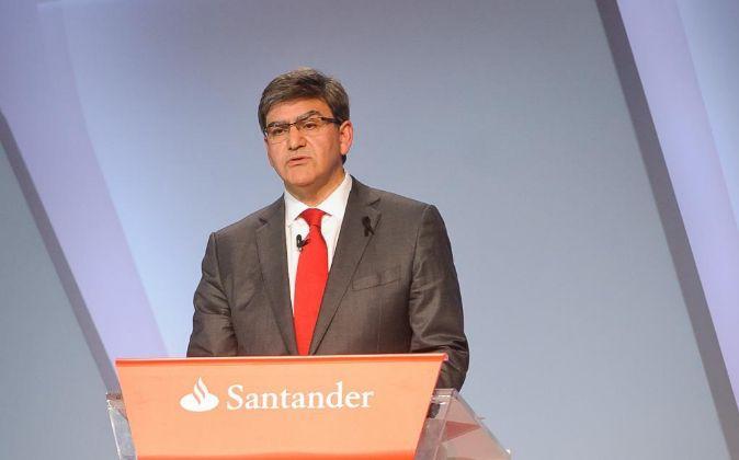 José Antonio Álvarez en la última junta de accionistas de Santander