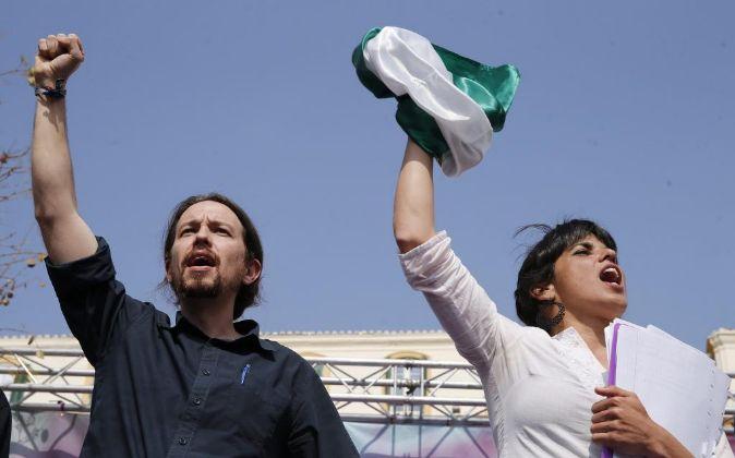 Pablo Iglesias y Teresa Rodríguez durante la campaña andaluza