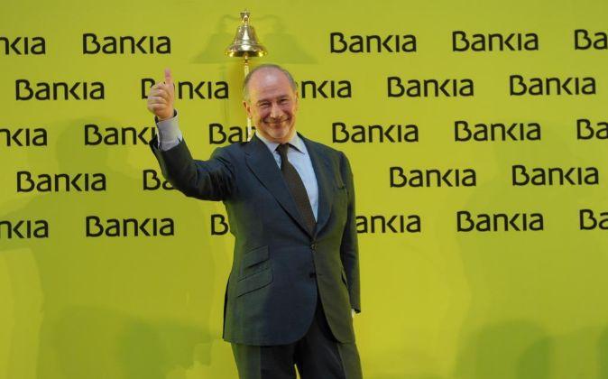 El expresidente de Bankia, Rodrigo Rato, en la salida a Bolsa de la...