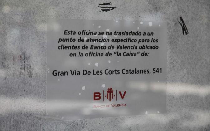OFICINA DE BANCO DE VALENCIA CERRADA