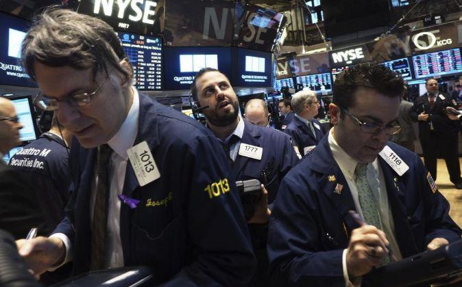 Agentes de bolsa en Wall Street