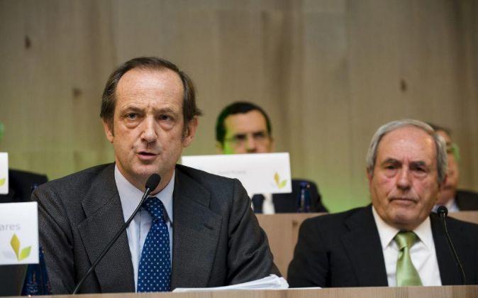 Juan Luis Arregui, presidente de Ence, e Ignacio de Colmenares,...