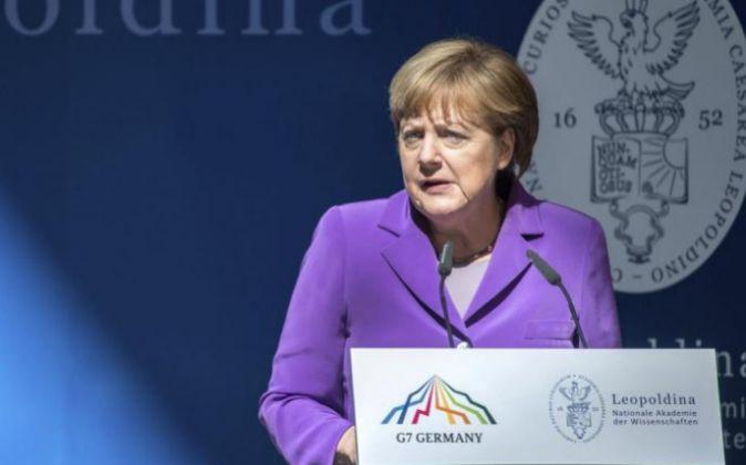 La canciller alemana, Angela Merkel, ayer.