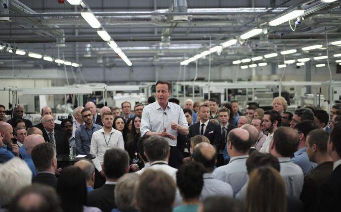 El primer ministro británico, David Cameron, en un acto electoral.