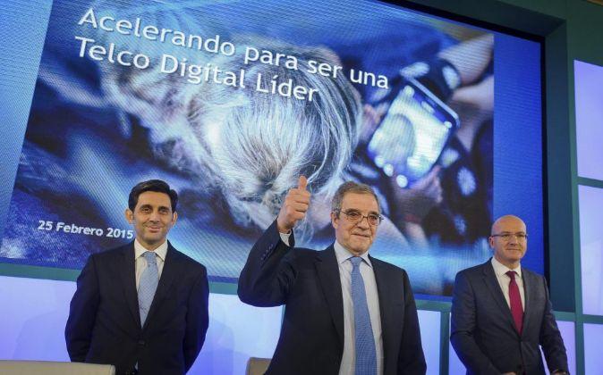 César Alierta, presidente de Telefónica, en la presentación de los...