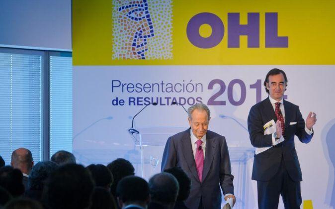 Presentación de resultados OHL, Juan Miguel Villar Mir junto a su...