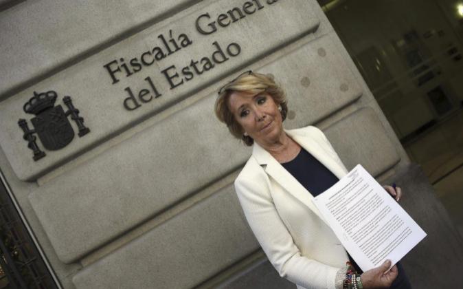 La candidata del PP a la Alcaldía de Madrid, Esperanza Aguirre, ayer...