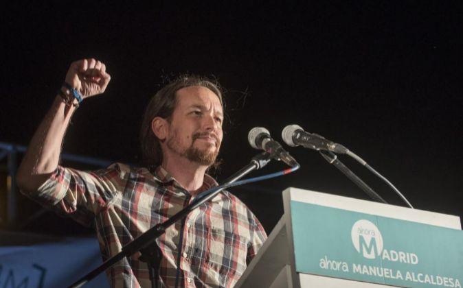 Pablo Iglesias, secretario general de Podemos, ayer por la noche en...