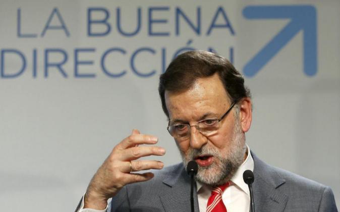 El presidente del Gobierno, Mariano Rajoy, durante su comparecencia el...