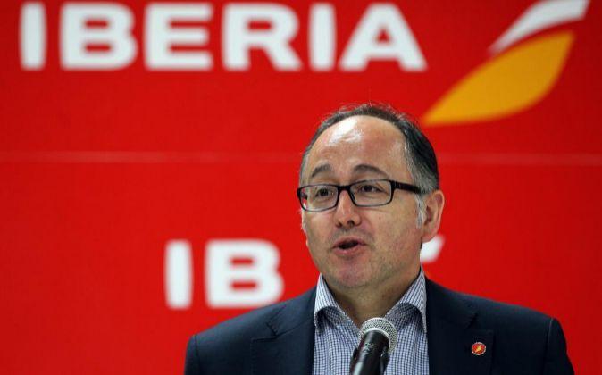 El presidente ejecutivo de Iberia, Luis Gallego, a su llegada a La...