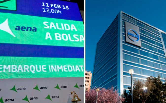 Imagen de la salida a Bolsa de Aena y de un edificio de Acerinox