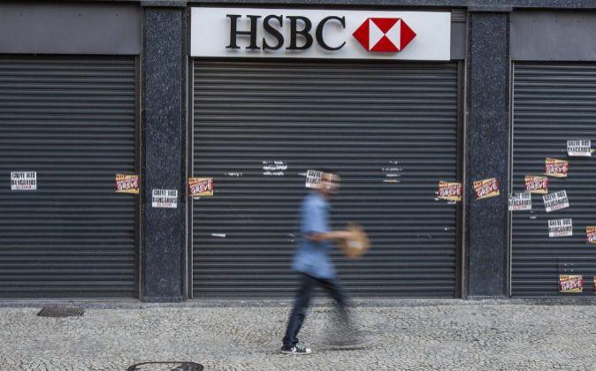 Una oficina cerrada de HSBC en Rio de Janeiro