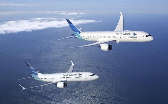 Aviones de Boeing de la flota de Garuda Indonesia.