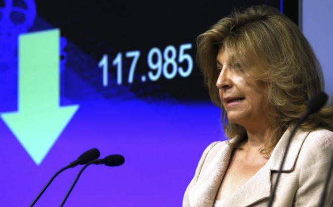 Engracia Hidalgo, en una rueda de prensa.