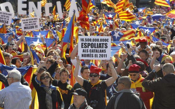Partidarios de la independencia de Catalunya, en una manifestación