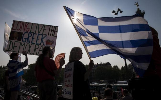 Manifestación en París en apoyo a Grecia el pasado día 2 de junio.