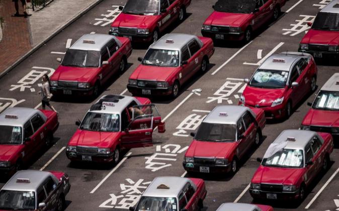 Taxis en el aeropuerto internacional de Hong Kong