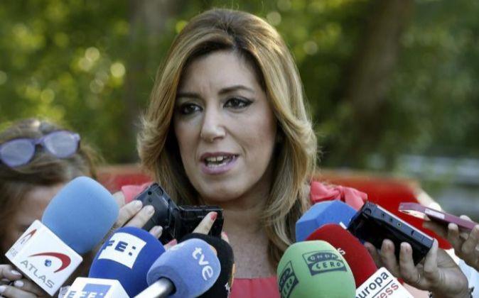 La presidenta de la Junta de Andalucía, Susana Díaz, el pasado día...