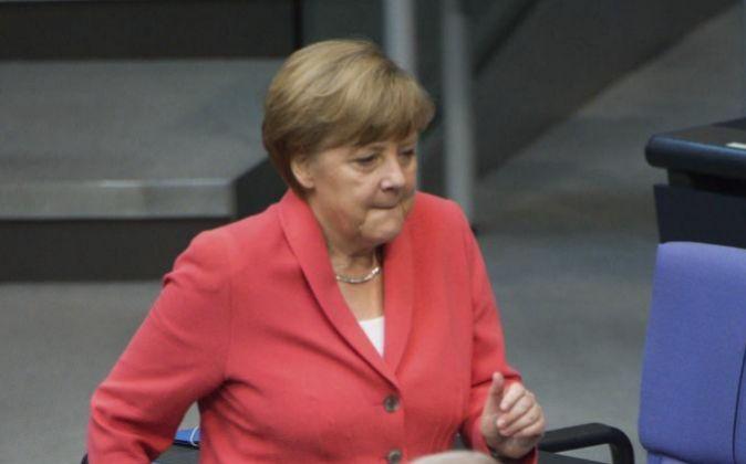 La canciller alemana, Angela Merkel, hoy en el Bundestag.