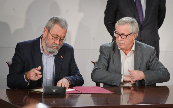 Cándido Méndez, secretario general de UGT, e Ignacio Fernández...