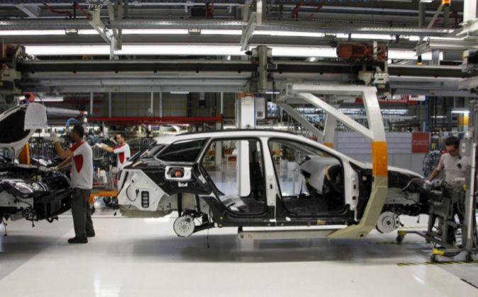 Línea de producción de la planta de Seat en Martorell.