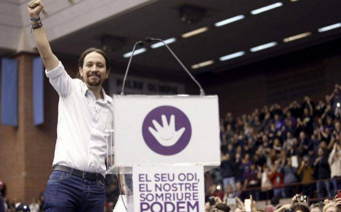 El secretario general de Podemos, Pablo Iglesias, en un acto de su...