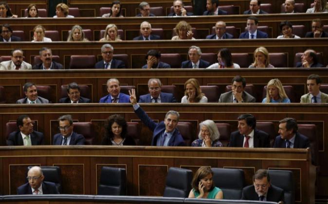 Bancada de los diputados del PP en el Congreso de los Diputados
