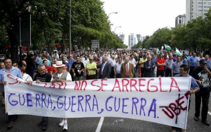 Manifestación contra Uber, en Madrid