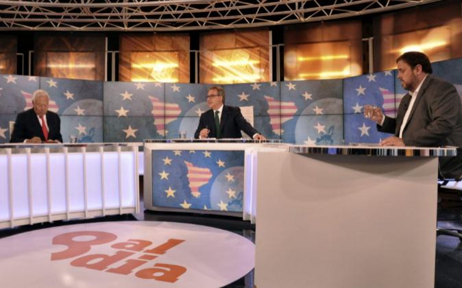 Fotografía facilitada por 8TV del debate televisado esta noche en...