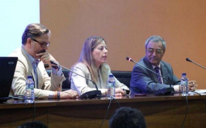 Sandra Pacheco (centro), Fernando Pizarro (izquierda) y Gonzalo Correa...