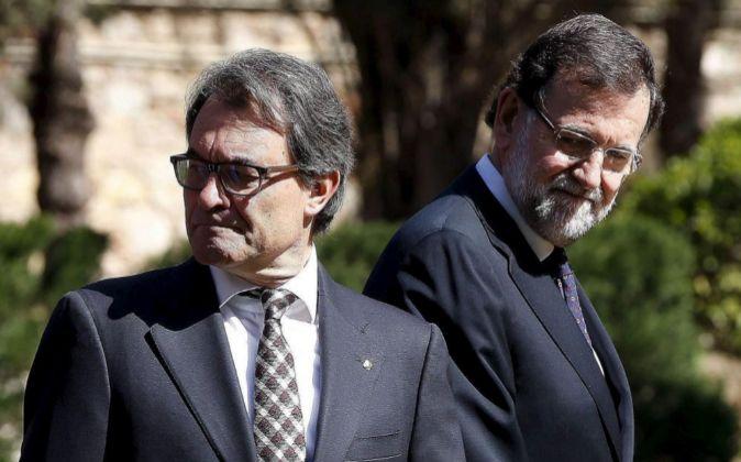 El presidente del Gobierno, Mariano Rajoy, y Artur Mas, en abril...