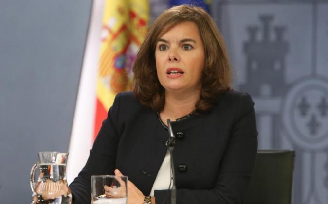 La vicepresidenta del Gobierno, tras el consejo de ministros del...