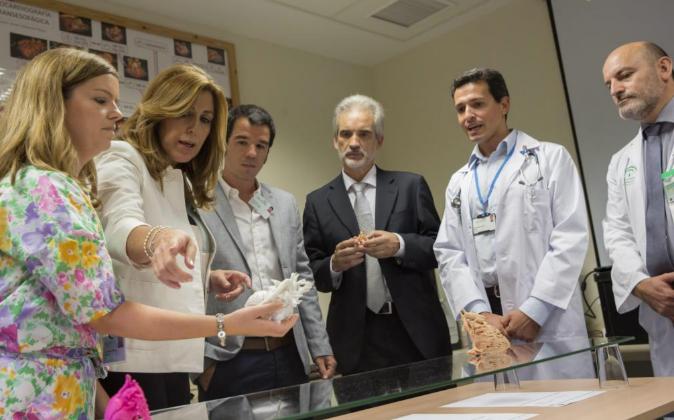 La presidenta de la Junta de Andalucía, Susana Díaz, junto al...