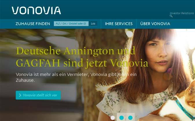 Página web de la inmobiliaria alemana Vonovia.