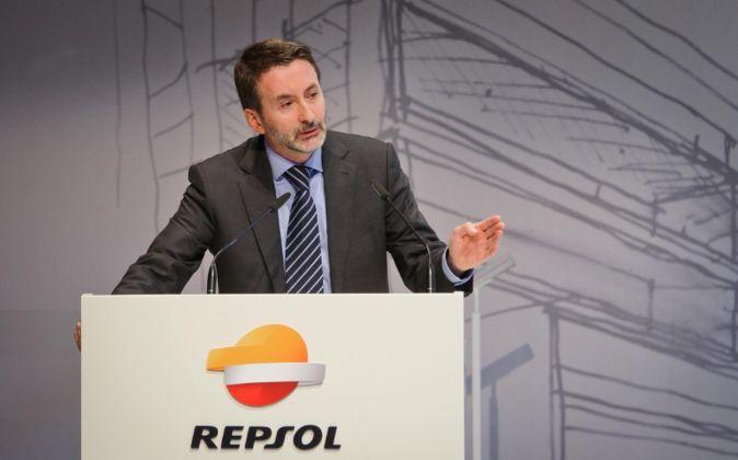 Josu Jon Imaz, consejero delegado de Repsol, hoy, en la presentación...