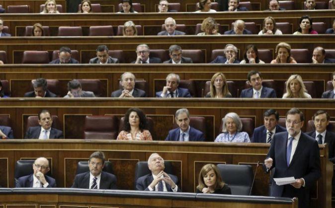 El presidente del Gobierno, Mariano Rajoy , durante su intervención...