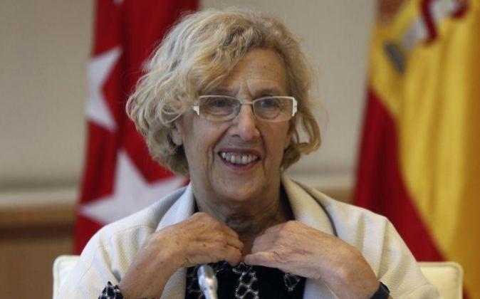La alcaldesa de Madrid, Manuela Carmena, en una reunión de la Junta...