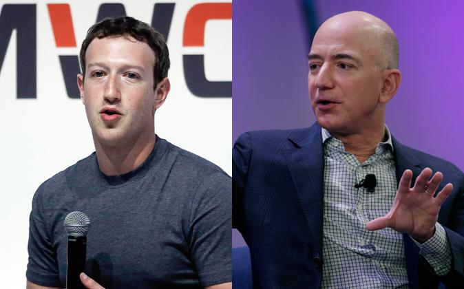 Mark Zuckerberg, CEO de Facebook, y Jeff Bezos, CEO de Amazon