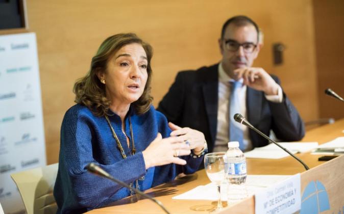 Carmen Vela, ayer durante su discurso de clausura en las jornadas de...