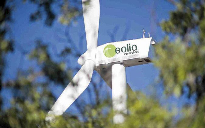 Aerogeneradores de un parque eólico de Eolia.