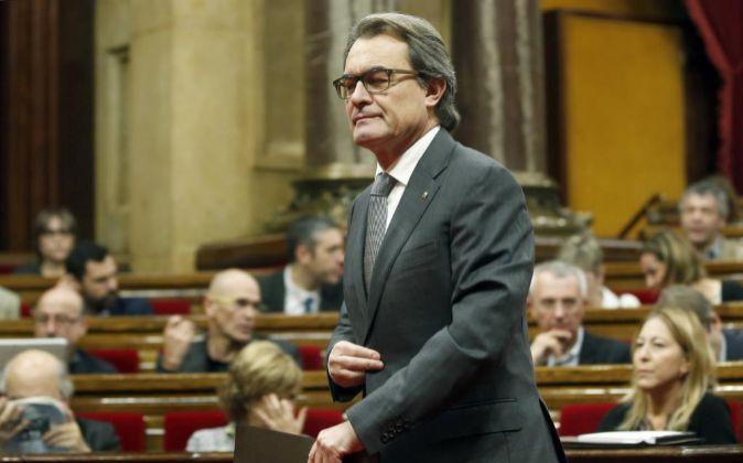 El candidato de Junts pel Si y presidente de la Generalitat en...
