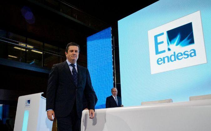 Borja Prado, presidente de Endesa, en una junta de accionistas de la...