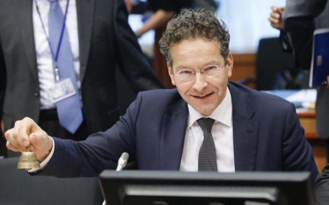 El presidente del Eurogrupo, Jeroen Dijsselbloem, en una reunión de...
