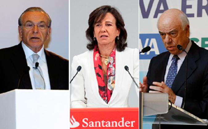 De izquierda a derecha: Isidro Fainé, presidente de La Caixa; Ana...