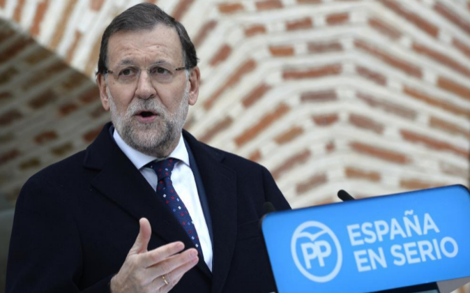El presidente del Gobierno, Mariano Rajoy, durante su intervención...