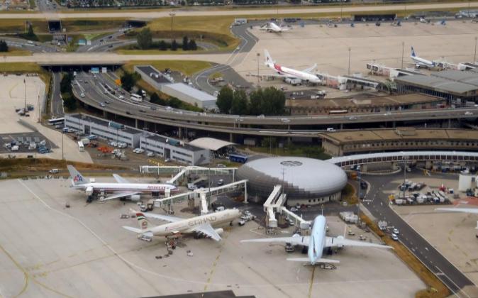 Aviones en un hub en el Aeropuerto Charles de Gaulle, París.