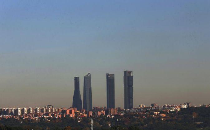 Vista del parque empresarial de las Cuatro Torres, en el Paseo de la...
